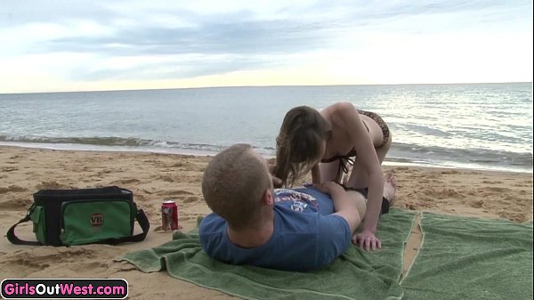 Skinny amateur girl fucked on the beach
