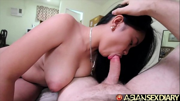 Asian Sex Diary - Sexy young MILF gets big white cock