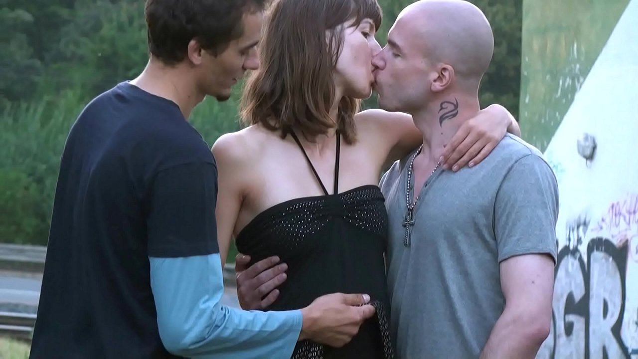 A tall pretty girl in public street threesome with 2 Uber delivery guys