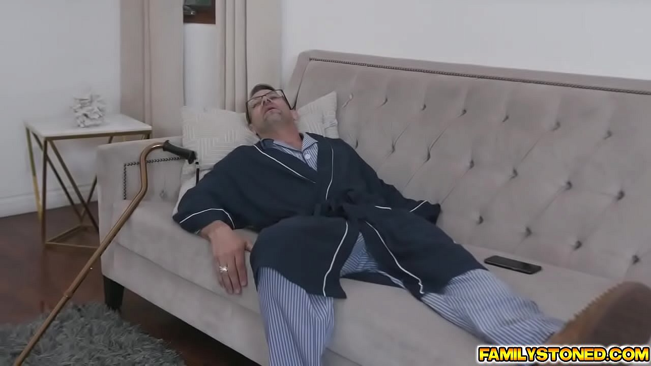Dirty old man eats Zoe Sparx pussy and asshole from behind making her get turned on