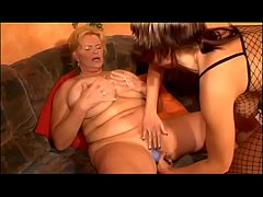 Mature woman with incredible huge tits fucked by younger girl