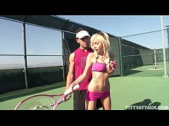 busty blonde Morgan Layne getting her pussy fingered and fucked after her tennis