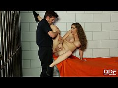 Stunning busty bombshell Alex Chance hardcore penetrated in the prison cell