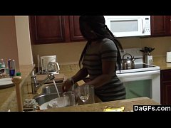 A kitchen fuck for this big assed ebony gal