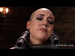 Locked neck in metal device bondage  brunette slave Lilith Luxe pussy tormented