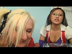 2 Harley Quinn Clones Give Double POV Handjob