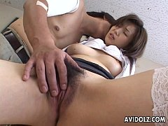 Naughty Japanese teacher takes in a stiff boner