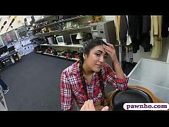 Beautiful country girl deepthroats and gets her anal pounded by pawn dude in his pawnshop