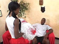 Black cheerleader Lady Armani gives a blowjob and gets drilled hardcore