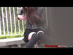 Japanese babe outdoors