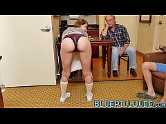 Young chick double teamed by old men