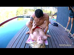 Busty dirty speaking babe fucked hard by the pool