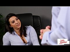 Office babe instructs sub colleague to wank