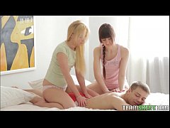 two teen beauties have a lust filled threesome