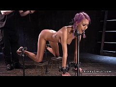 purple haired petite newbie slut janice griffith gagged and whipped in high heels