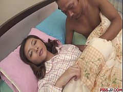 Nasty and pervert dark haired babe Minako Uchida stripping off and get fondled b