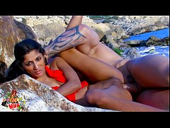 Hot skinny Indian little slut fucked by bick cock at the beach