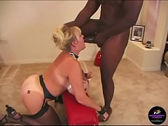big tit queen of spades whore chained to the bench and fucked hard by black stud