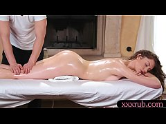 Brunette babe Elena Koshka gets drilled by masseur on the table after massage