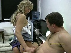 Hot applicant gives horny boss a quick handjob