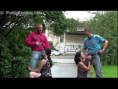 risky public street sex foursome orgy with a pregnant girl and 2 guys