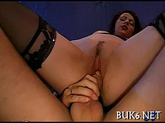 Babe&#039_s face is filled with ball sex cream