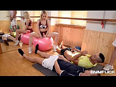 Gym fuck with busty blondie Chessie Kay ends with cumshots on her big tits
