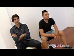 A horny hairdresser and two guys fulfill fantasies