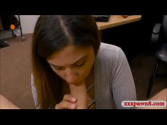 Amateur brunette babe with perky tits gets drilled by pawn keeper at the pawnshop