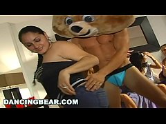 DANCING BEAR - Male Strippers Sling Big Dick At CFNM Party For A Bunch Of Women