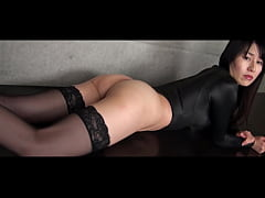 Asahi Sugawara High-leg leotard black and stockings legs,ass-fetish image video solo