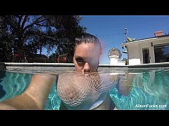 Alison Tyler swims and masturbates in the pool