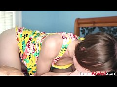 Thin Brunette Chick Gives Blowjob and Tries Anal