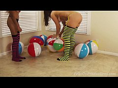 Yesenia Sparkles and Madisin Lee in Yesenia Sparkles Beach Ball Lesson.MILF Teen