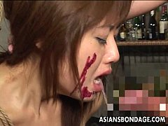 asian slut has a cock to suck as she s tied up