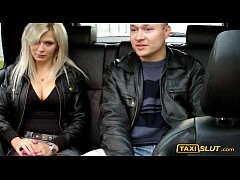 Pretty blonde amateur Stefany with big boobs railed in a taxi