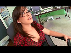 Angry boss caught in the act of masturbation at her work place his brunette secetary Jennifer White