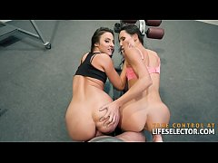 Amazing threesome in the gym POV