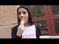 Jessica Malone flicks her tongue around a delicious ice cream and sucks cock aft