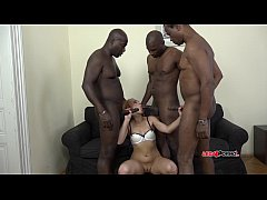 Wild redhead slut Rebecca takes hard interracial DAP - 3on1