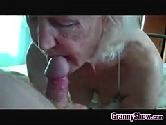 Ugly old granny sucking cock
