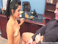 teen Paris Marie opens her mouths and slides in her profs cock