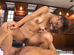Gorgeous Japanese slut loves to ride on a thick...