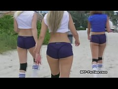 Three volleyball chicks on a hard dick