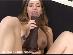 Jenna loves fucking her pussy with monster brutal dildos