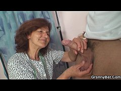 HD Clothed 70 years old granny rides young dick
