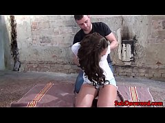 European bdsm babe gagged and restrained