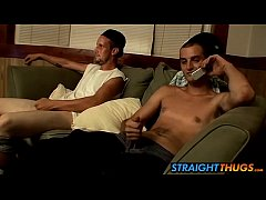 Horny boys Ajax and Cg loves wanking on living room couch