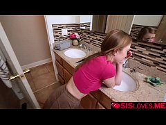 Blonde stepsis gives stepbro a blowjob to take her distance from her!