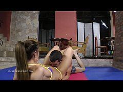 Athina vs. Sunny - The Bikini 2. - face sitting mixed wrestling